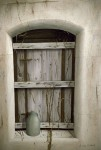 Shuttered Window and Blue Jug